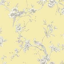 Shabby Chic Yellow Bird On Branch Wallpaper