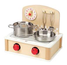 amazon com hape tabletop cook and grill kid s wooden kitchen play