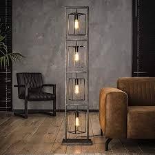 famlights stehleuchte saskia aus metall in silber eckig 4x e27 industrial design edle stehle für wohnzimmer schlafzimmer designerleuchte