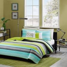 Amazon Reversible Modern Teal Lime Green Grey Coverlet