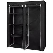 Florida Brands Portable Wardrobe Closet with 4 Shelves and Hanging Space Zippered Front Door
