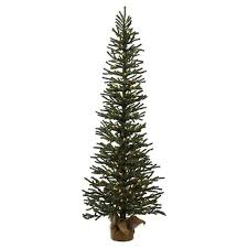 4 Ft Pre Lit Pine Artificial Christmas Tree In Burlap Base With Warm