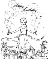 Snow Queen Elsa With Balloons And Gifts Colouring Page Coloring Pages