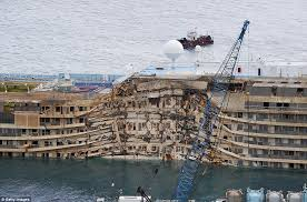 costa concordia is winched upright in 500m salvage operation