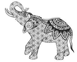 Tribal Elephant Coloring Pages Henna