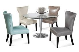Glass Furniture Dining Room Round Stainless Steel Table Unique Leather