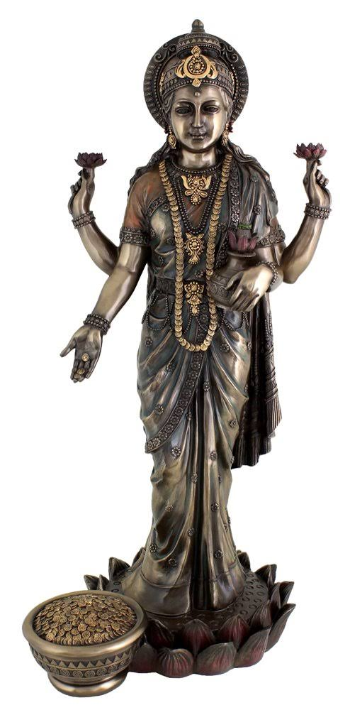 Top Collection Lakshmi Hindu Goddess of Wealth and Prosperity Real Bronze Powder Cast Large Statue 24""