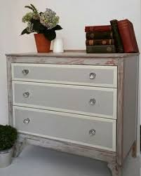 NOW SOLD Hand Painted 3 Drawer Light Grey And White Rustic Elegant Chest Of Drawers Furniture Shabby Chic Dresser 1960s Vintage Distressed