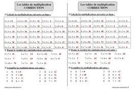 tables de multiplication exercices corrigés calcul