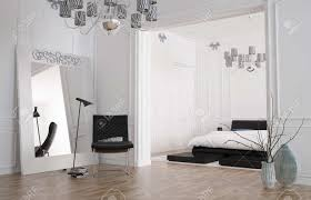 minimalist geräumige schlafzimmer interieur mit großem spiegel stehend gegen die wand den raum und ein doppelbett in einem vertieften nische