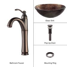 kraus illusion glass vessel sink in brown with riviera faucet in