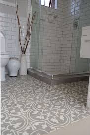sweet printed floor tiles with brick styled wall for