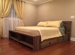 Pallet Bed Frame by Wood Pallet Bed Frame With Lights Black Fabric Bed Cover Teak Wood