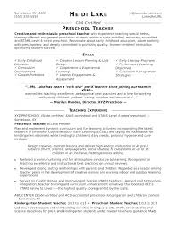 Sample Special Education Teacher Resume Student For Preschool High School Samples Sampl