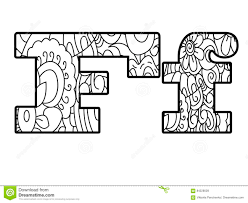 Anti Coloring Book Alphabet The Letter F Vector Illustration