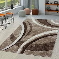 teppich wohnzimmer gestreift modern mit konturenschnitt in