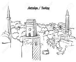 Antalya Turquie Old Town Coloriage Célèbre Point De Repère