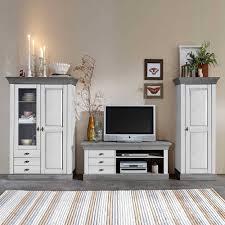 wohnzimmer wohnwand mirandesca in weiß grau teilmassiv 3 teilig