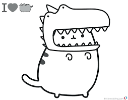 Pusheen Coloring Pages Cute Dinosaur Hat Free Printable Download This Page Mermaid