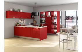 wohnküche in satinlack feuerrot mit halbinsel 5900437 76