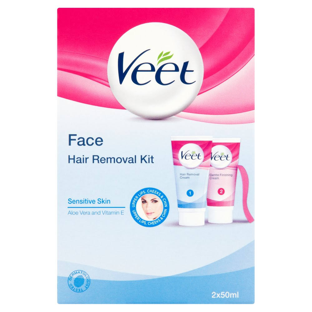 Veet Face Hair Removal Kit - Sensitive Skin, 2 x 50ml