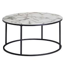 couchtisch rund 80x40x80 cm mit marmor optik weiß wohnzimmertisch mit metall gestell schwarz moderner dekotisch möbel und schönes