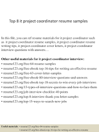 100 Project Coordinator Resume Top 8 It Project Coordinator Resume Samples