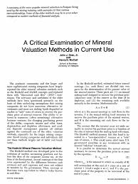 Sinking Fund Formula Derivation by A Critical Examination Of Mineral Valuation Methods In Current Use