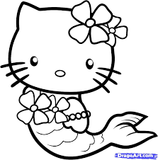 Draw Mermaid Hello Kitty Step By Drawing Sheets Added Within Easy To Pictures
