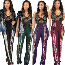 Women High Waist Wrapped Hip Colorful Sequin Stripes Trouser Casual Long Pants