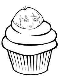 Dora The Explorer Cupcake Coloring Page