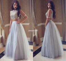silver gray tulle long prom dresses two piece crystals beading