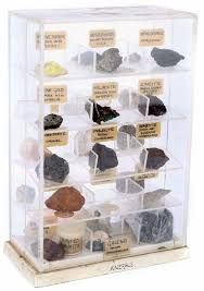 A Display Collection Of Approximately 30 Mineral Samples From Around The World In Perspex Case Each Rock Unique Example