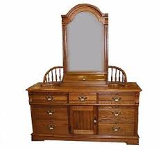 vintage solid oak dresser and mirror from recollections by dixie