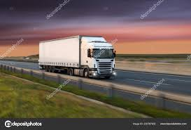 Truck With Container On Road, Cargo Transportation Concept. — Stock ...