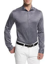 ermenegildo zegna cotton silk sport shirt in blue for men save