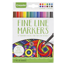 CrayolaR Fine Line Markers For Adult Coloring Books Classic Colors 12 Pack