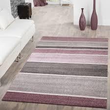 designer teppich gestreift lila