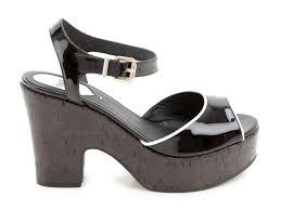 fendi cork wedges sandals in black patent leather italian boutique