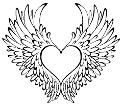 Interesting Heart Coloring Pages With Wings Free Hearts And Colouring Love