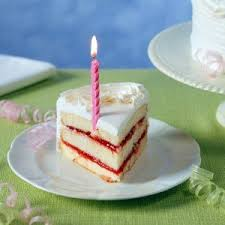 A slice of birthday cake with a half candle