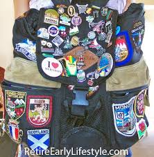 Backpack Proudly Displays Travel Pins And Patches
