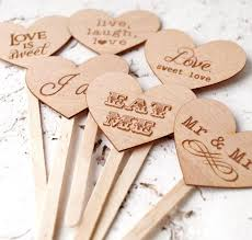 Wedding Cupcake Toppers Rustic Personalized Picks Decoration