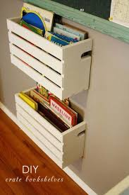 Hanging Book Baskets Make These Simple Bookshelves By Slicing A Single Crate In Half Mount Them On The Wall For Easy Storage Kids Room