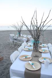 Pastel Blues Rustic Branches And Simple Setting For Beach Wedding