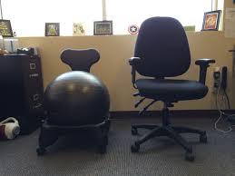 office chair battle gaiam balanceball chair vs regular desk