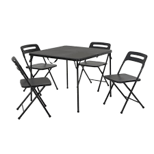 Cosco 5-Piece Black Outdoor Safe Fold-in-Half Folding Card ... Meco Sudden Comfort Deluxe Double Padded Chair And Back 5 Piece Square White Table And Multi Color Set Cecilia Folding Tablechair Shopko Chairs At Office Max Cosco 5piece Vinyl Bridgeport 32inch Wood Card 48 Black Ding Amazoncom Mid Century Modern Gatefold Two Kids Multiple Colors Card Table Chairs Amazon Avalonmasterpro Sturdy Game Poker Walmartcom