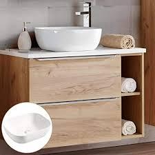 lomadox badmöbel waschtisch unterschrank set mit regal wotan eiche mit hochglanz weiß 41cm keramik waschbecken 2 softclose schubkästen b h t ca