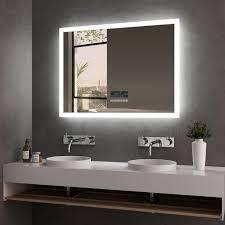 led badspiegel 80x60cm badspiegel mit beleuchtung kaltweiß lichtspiegel badezimmerspiegel wandspiegel mit touchschalter beschlagfrei bluetooth 4 1