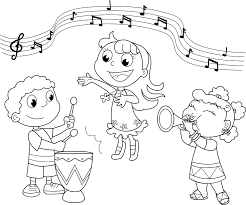 Music Coloring Pages Kids Playing Twisty Noodle